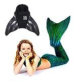 SUN TAILS Set Meerjungfrauen Kostüm Sirene Green Meerjungfrau Schwimmflossen Monofin Kinder Jugendliche Erwachsene JS schwarz
