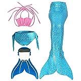 SPEEDEVE Kinder Mädchen Meerjungfrauenschwanz Meerjungfrau Flosse Schwimmanzug Badebekleidung 4pcs Bikini Sets