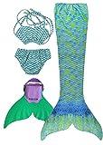 SPEEDEVE Mädchen Meerjungfrauenschwanz Zum Schwimmen mit Meerjungfrau Flosse, 10 (120-130cm), Wasser Grn
