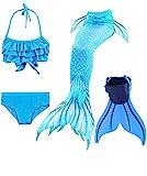 shepretty Meerjungfrauenschwanz zum Schwimmen für Kinder mit Meerjungfrau Flosse,DH53,150