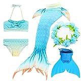 CHANGL Mädchen Schwanz Meerjungfrau Schwänze Kinder Badeanzug Kostüme Mit Monofins Bikini Schwimmen Cosplay Kleine Meerjungfrau Schwanz für Kinder Badebekleidung