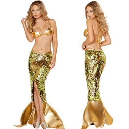 Glantop Women's Sexy Cosplay Costume Meerjungfrauen-Kostüm Rock Schwanz, braun, M - 1