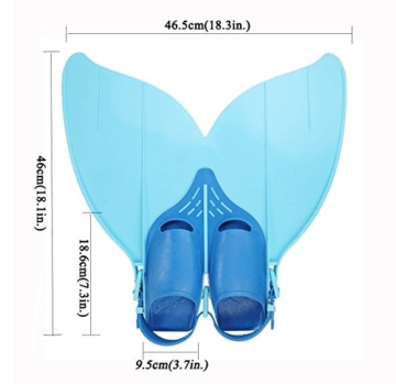 Gwood Meerjungfrau Flossen Monofin Taucherflossen für Kinderschwimmen Schwimm Flossen (Blau) - 2