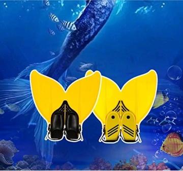 Gwood Meerjungfrau Flossen Monofin Taucherflossen für Kinderschwimmen Schwimm Flossen (Blau) - 6