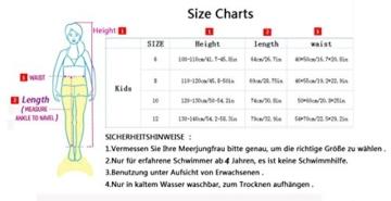LikeepTM Mädchen Meerjungfrauen Bikini Tankini Kostüm Meerjungfrau Schwimmanzug Badeanzüge Meerjungfrauenschwanz + Schwanzflosse + niedlich Muschelbikini Der Hingucker im Schwimmbad! (130cm, Rosa Rot) - 3