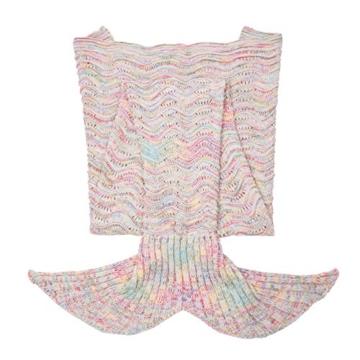 iEFiEL Mädchen Damen Kostüm Meerjungfrau Fischschwanz Decke Schwanz Flosse Handgemachte Schlafsack Blanket Kostüm Häkel Erwachsene Decke, Eisgrau, Erwachsene Größe -