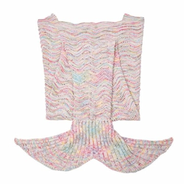 iiniim Meerjungfrau Schwanz Gestrickte Decke Schlafsack Blanket Decke für Mädchen Damen Grauweiß (Für Erwachsene) -