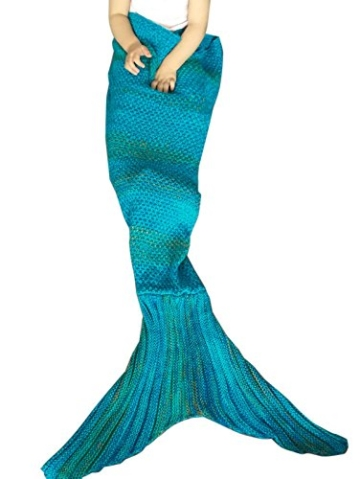 Tiaobug Handgemachte Häkeln Meerjungfrau Flosse Decke Schlafsack