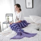 WLM Meerjungfrau Decken,Weiche Strick Meerjungfrau Strickmuster Schlafsack, Handgemachte Mermaid Schwanz Stil Blanket Sofa Schlafdecke für Erwachsene (Lila) -