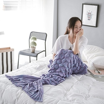 WLM Meerjungfrau-Endstück-Häkelarbeit-Decke-weiche Sofa-Nixe-Decke strickte Meerjungfrau-Schwanz-erwachsene Schlaftasche die ganze Jahreszeit. (Leicht lila) -
