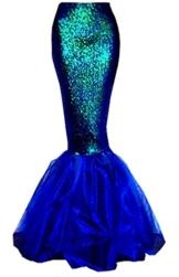 Damen Mermaid Halloween Kostüm ausgefallene Party Pailletten lange Rute Rock (EU 38, Dunkelblau) -