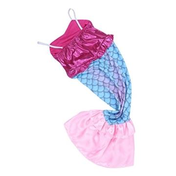 iiniim Mädchen Kinder Prinzessin Kleid Glänzend Meerjungfrau Kostüm Kinderkostüm Fasching Karneval Party Cosplay Kostüm Rose&Blau 110-116/5-6 Jahre -