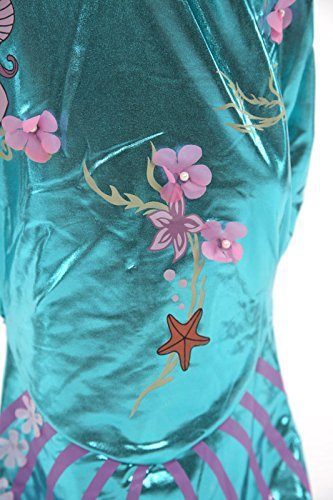 Katara 1777 Meerjungfrauen Kostüm, Glitzer-Verkleidung zum Karneval mit bodenlangem Rock, Faschings-Anzug mit Fischschwanz und Flossen, Tüll-Ärmel wie Arielle, Barbie aus Comic und Zeichentrick, Blau/Türkis, 104/110 (Etikett 110) -