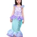 Kinder Baby-Kleidung Mermaid-tail Fancy Rüschen Hülsen-Kleider Prinzessin Ariel Bling Cosplay Halloween-Kostüm-Weihnachtsparty-Kleider (XXL=140, lila) –