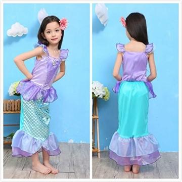 Kinder Baby-Kleidung Mermaid-tail Fancy Rüschen Hülsen-Kleider Prinzessin Ariel Bling Cosplay Halloween-Kostüm-Weihnachtsparty-Kleider (XXL=140, lila) -