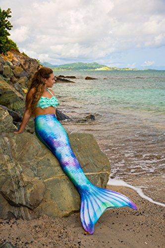Fin Fun Mermaid Tail, verstärkte Enden, mit Monoflosse, Watercolor Waves, Jugendliche U.S. Größe 06 - 4