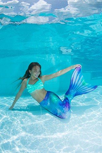 Fin Fun Mermaid Tail, verstärkte Enden, mit Monoflosse, Watercolor Waves, Jugendliche U.S. Größe 06 - 6
