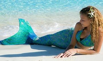 Fin Fun Mermaid Tail verstärkte Tipps, mit Monoflosse, Aussie Green, Größe Kind 10 - 4