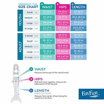 Fin Fun Mermaid Tail verstärkte Tipps, mit Monoflosse, Aussie Green, Größe Kind 10 - 6