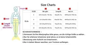 Kinder Mädchen Meerjungfrauenschwanz Meerjungfrau Flosse Schwimmanzug Badebekleidung 4pcs Bikini Sets  120 (6-8 Jahre) Grün - 2