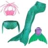 Kinder Mädchen Meerjungfrauenschwanz Meerjungfrau Flosse Schwimmanzug Badebekleidung 4pcs Bikini Sets  120 (6-8 Jahre) Grün - 1