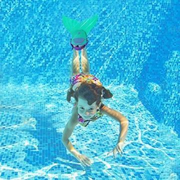 Kinder Mädchen Meerjungfrauenschwanz Meerjungfrau Flosse Schwimmanzug Badebekleidung 4pcs Bikini Sets  120 (6-8 Jahre) Grün - 4