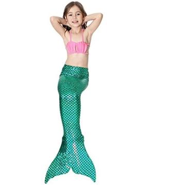 Kinder Mädchen Meerjungfrauenschwanz Meerjungfrau Flosse Schwimmanzug Badebekleidung 4pcs Bikini Sets  120 (6-8 Jahre) Grün - 5