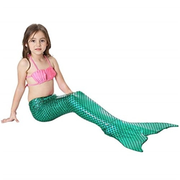 Kinder Mädchen Meerjungfrauenschwanz Meerjungfrau Flosse Schwimmanzug Badebekleidung 4pcs Bikini Sets  120 (6-8 Jahre) Grün - 6