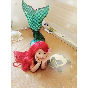 Kinder Mädchen Meerjungfrauenschwanz Meerjungfrau Flosse Schwimmanzug Badebekleidung 4pcs Bikini Sets  120 (6-8 Jahre) Grün - 7